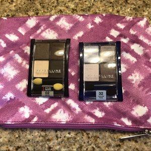 NEW. 2 Maybelline Eyeshadow Quads w/ Clinique Bag